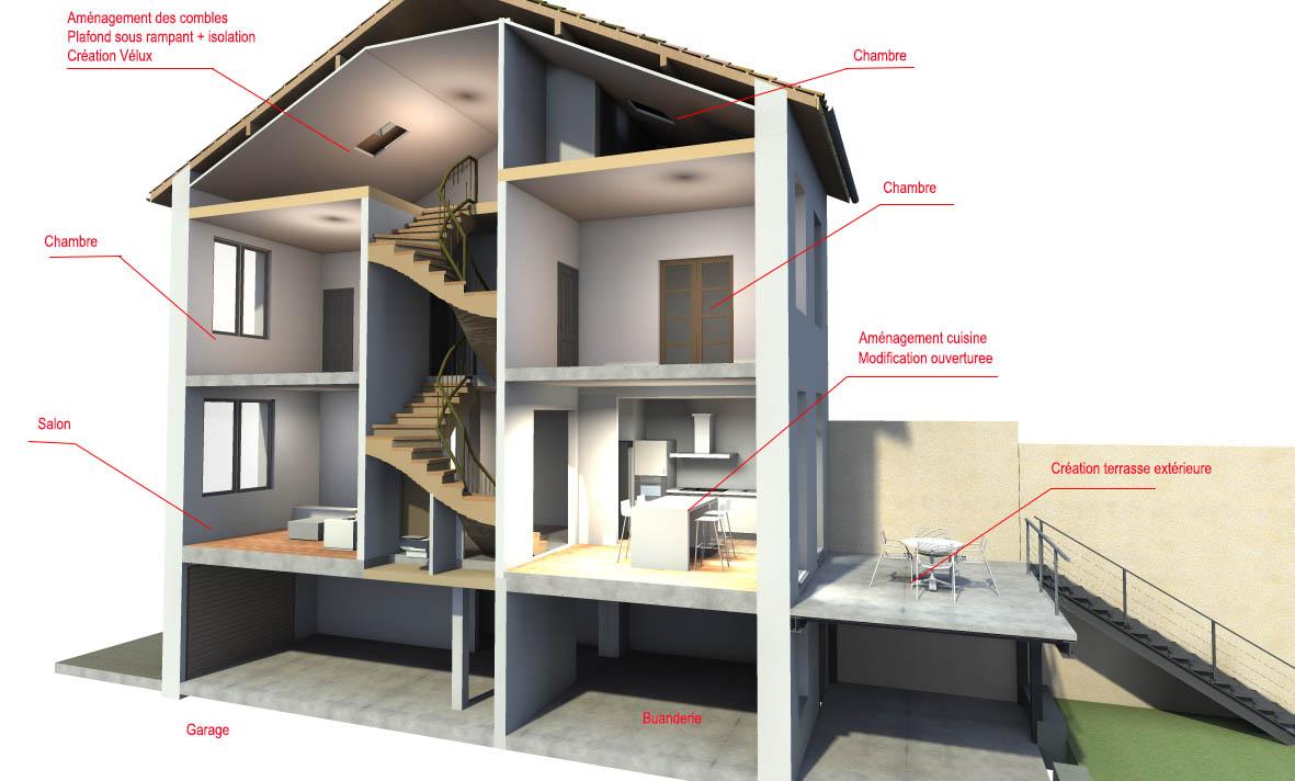 R habilitation d 39 une maison - Plan coupe facade maison ...